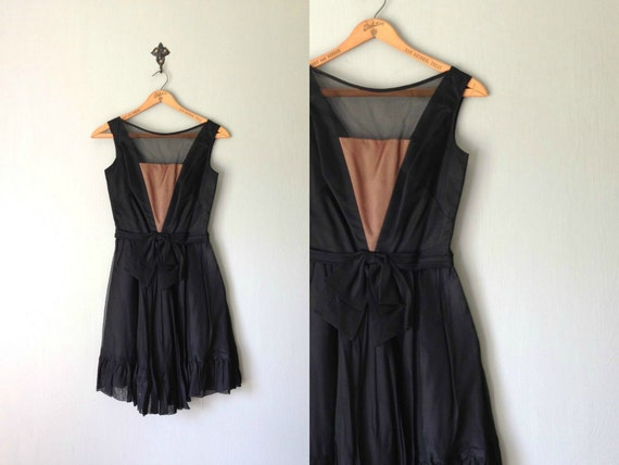 Vintage LENI Dress 1960s Clothing Sleeveless Black Boudoir