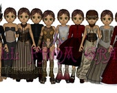 "Gift Idea - Download now ""Steampunk Sadie"" Steampunk  Digital Dress Up Paper Doll & 10 outfits  to print at home"