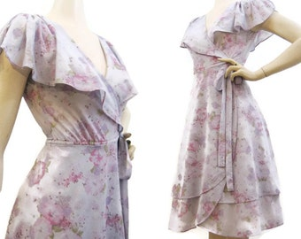 70s Dress Vintage Wrap Double layer Ruffled Collar Flutter Floral S M