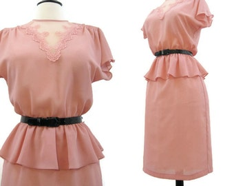 80s Dress Vintage Pink Peplum Lace Secretary Day Dress M L