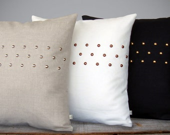CUSTOM Metallic Studded Pillow Cover - Premium Linen (20x20) by JillianReneDecor | Geometric Pillow | Modern Home Decor | Stripe Pattern