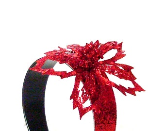 Red Flower Headband / Holiday Party Accessory / Red Glitter Head Band / Statement Accessory / Gift Under 30 For Her