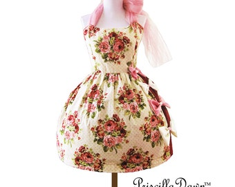 Strawberry Floral Cream Tea party dress Pop Cupcake 1950 Vintage Handmade Dress.
