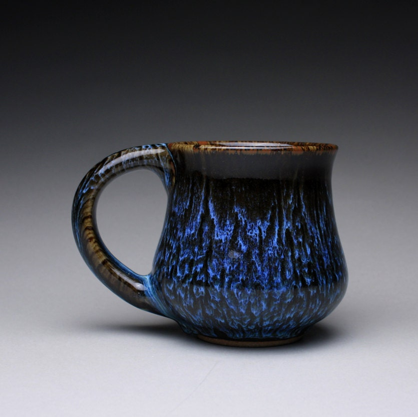 Reserved Handmade Pottery Mug Teacup With Black Tenmoku And