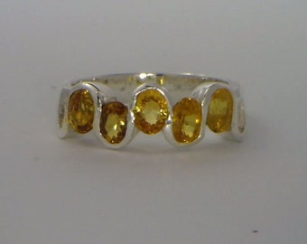 Yellow Sapphire Handmade Sterling Silver Unisex Ladies Five Stone Ring size 6.5