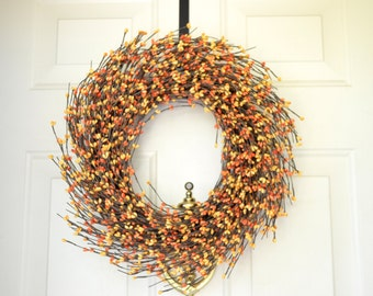 Yellow and Orange Fall Berry Wreath-Yellow and Orange berry wreath -autumn wreath-Thanksgiving wreath