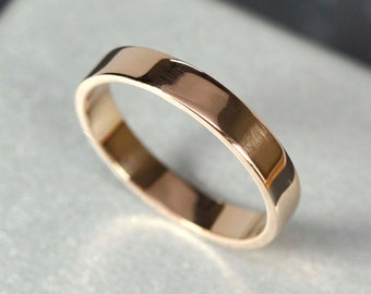 18K Rose Gold 3x1mm Flat Edge Ring, Solid Gold Wedding Band, Recycled Metals, Eco-Friendly, Sea Babe Jewelry