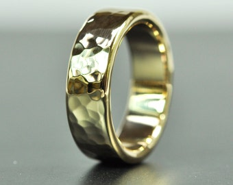 Solid 14K Yellow Gold 6mm Hammered Ring, Luxury Gift, Sea Babe Jewelry