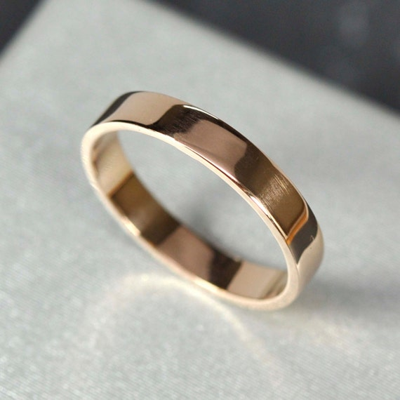 18K Rose Gold 3x1mm Flat Edge Ring Solid Gold Wedding Band