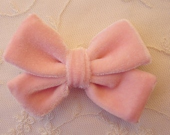 3.5 inch PINK VELVET Ribbon Bow Applique Bridal Baby Hair Accessory Pin