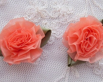 18pc Orange Sherbet Organza Ribbon Fabric Flower Applique Shabby Chic Baby Doll Carnation Cabbage Rose Bow