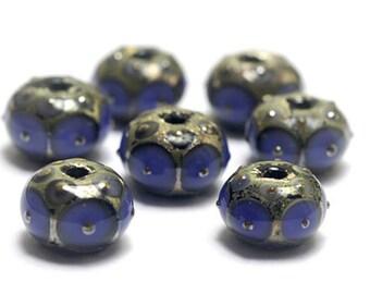 Seven Lavender w/Metal Dots Rondelle Beads -10407801-Handmade Glass Lampwork Beads