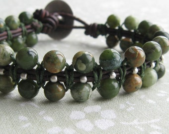Earthy Green Celtic Macramé Bracelet-Woven Leather-Serpentine-Rhyolite-Celtic Button-Beaded Macrame-SALE ITEM