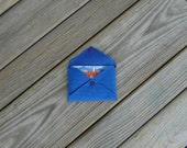 Royal Blue Cordura Card Holder Mini Wallet with Purple Snap