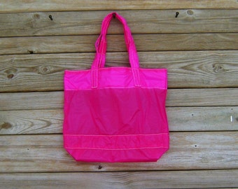Parachute Tote Bag Medium Neon Pink Slider Water Resistant Zero Porosity Nylon Ripstop