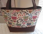 Owls with Floral and Vines Purse Tote Diaper Bag Custom Made to Order Design Your Own Choose Your Size