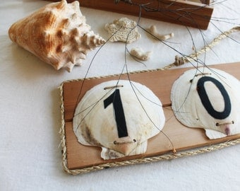 Nautical Beach House House Address Sign Scallop Shells and Wood and Rope
