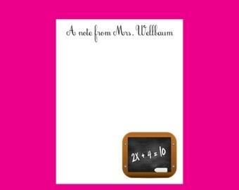 Math teacher Notepad, Personalized Notepad, Teacher gift, stocking stuffer