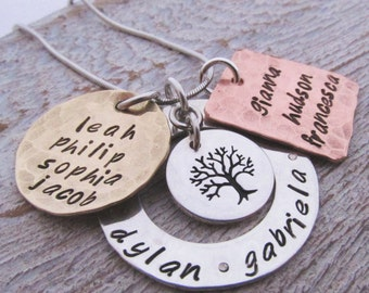 Hand stamped Jewelry - Whole Family - Family Tree Necklace -