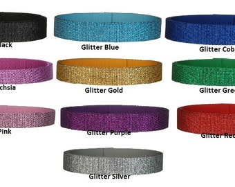 "5 yards 1.25"" glitter webbing - 10 GORGEOUS COLORS"