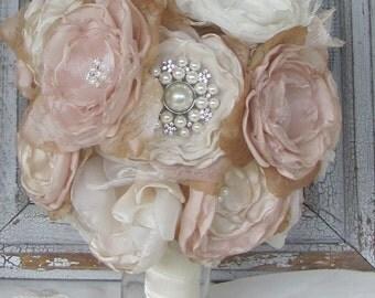 Fabric Flower Bouquet, Bridal Brooch Bouquet , Wedding Bouquet,Rhinestone Bouquet,Pearl Bouquet, Satin Flower Bouquet , Shabby Chic Bouquet