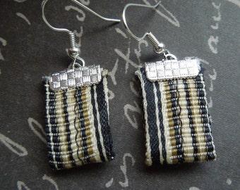 Striped Black Bohemian Repurposed Fabric Textile Earrings