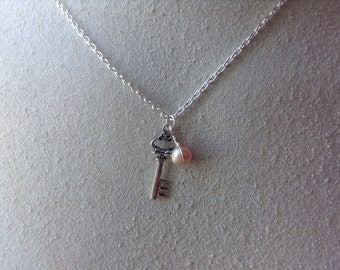 Key Necklace, Silver steampunk Skeleton Key and Pearl Necklace