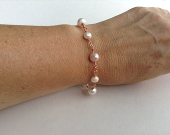 Pearl and Rose Gold Bracelet