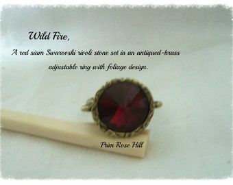 WILD FIRE Red Siam Swarovski Rivoli Adjustable ring in Antiqued Brass