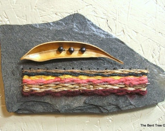 Miniature Wall Hanging of Fiber on Slate with Pod and Bead Embellishments OOAK by The Bent Tree Gallery SALE was 89.00