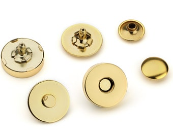 10pcs Double Rivet Magnetic Purse Snaps 18mm - Gold - Free Shipping - (MAGNET SNAP MAG-200)