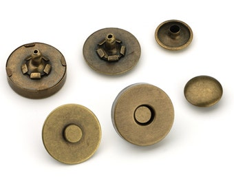 10pcs Double Rivet Magnetic Purse Snaps 18mm - Antique Brass - Free Shipping - (MAGNET SNAP MAG-202)