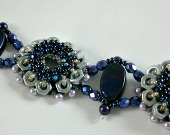Cuff Bracelet Black Beadwoven  Beaded Beadwork Industrial Style Nut Screw