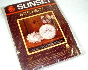 Vintage Sunset Stitchery Kit, Colonial Flower Basket, Pattern 329. Needlecraft, Cotton Fabric, New Old Stock, 1983   (373-14)