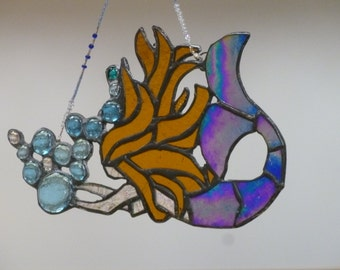 Mermaid Siren  Stained glass iridescent violet or cobalt blue