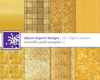 "Gold Metallic Digital Paper Pack - Faux Gold Sampler 1 - Set of 8 12"" Printable Sheets"