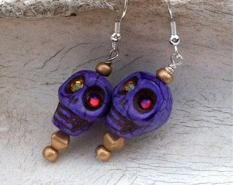 Purple Stone Skull Bead Earrings