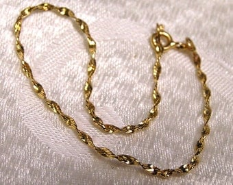 Vintage 14 K Solid Gold Twisted Chain OR Bracelet Made in Italy (J54)