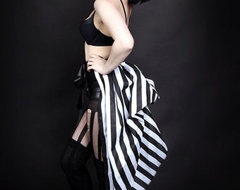 Black and White Striped Bustle Wrap MTCoffinz - All Adult Sizes