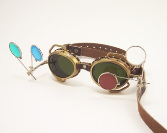Steampunk Goggles Real Brass Steam Punk Glasses Victorian Cosplay LARP