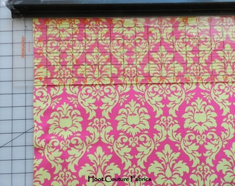 Michael Miller Dandy Damask CX3095 Watermelon- lime on hot pink  1/2 yard