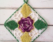 Set of 2 Vintage Crocheted Coasters with Purple Flowers