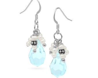 French Wire Earrings with Light Blue Crystal and Pearls, Handcrafted Earrings, Dangle, Drop, Faceted, Teardrop, Pearl Accents, Gift Earrings