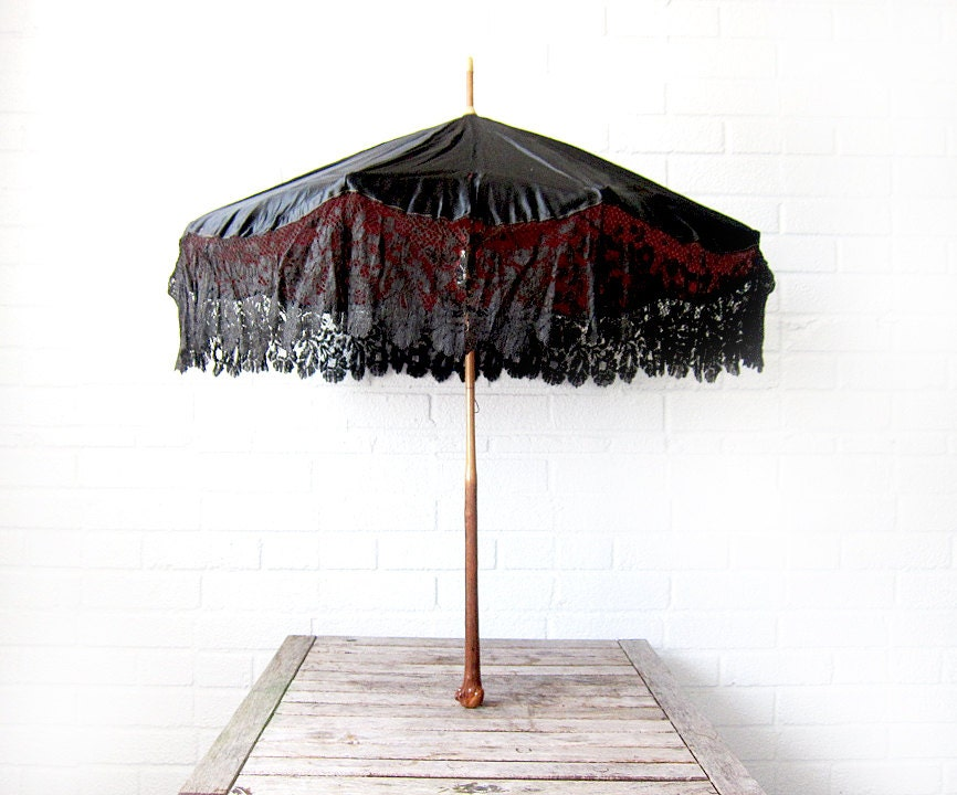 Antique Victorian Parasol Black and Red Silk and Lace