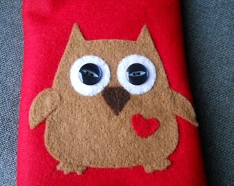 Owl Tablet case Tablet sleeve,/Felt owl tablet cover Owl E reader sleeve, Owl E Reader cover cute owl