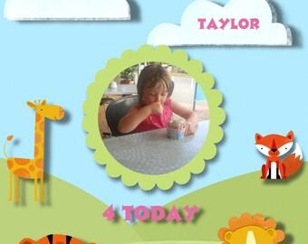 custom boy card.or custom girl card.child's custom birthday card/any age custom card girll zoo card/boy zoo birthday card