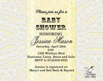 Baby Shower Invitation-Lace Doily