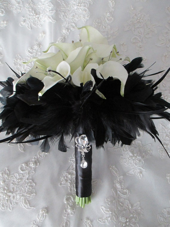 Stunning White Realtouch Mini Calla Lilies  Rhinestones and black Maribou Feathers Wrapped in Black Satin Wedding Brouquet