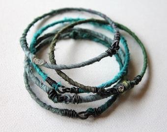 MADE TO ORDER, Bangle Set of Five, Bracelet Gift Set, Silk Wrapped Bangles, Custom Wrapped Bracelets, Bracelet set, Bangles, Five, Cheldena