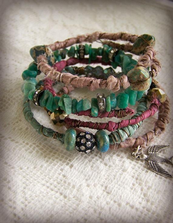 Handmade Gypsy Bangle Bracelet Stack Wire Wrapped Boho